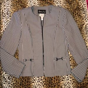 All that jazz plaid black white blazer top medium